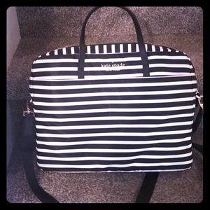 Kate Spade Laptop case. Black/cream striped